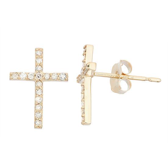 1/6 CT. T.W. Genuine White Diamond 10K Gold 11.6mm Cross Stud Earrings