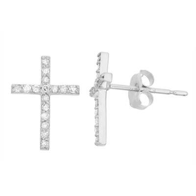 1/6 CT. T.W. Genuine White Diamond 10K Gold 11.6mm Cross Stud Earrings