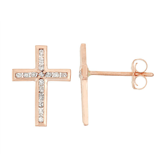 1/6 CT. T.W. Genuine White Diamond 10K Gold 11.9mm Cross Stud Earrings