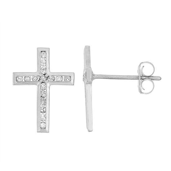1/6 CT. T.W. Genuine White Diamond 10K Gold 11.9mm Cross Stud Earrings