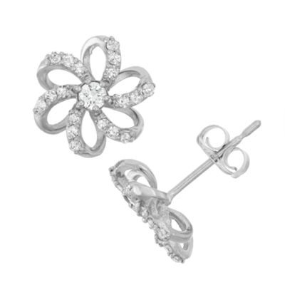 1/4 CT. T.W. Genuine White Diamond 10K Gold 8.4mm Flower Stud Earrings