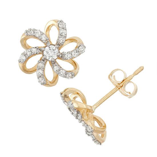 1 4 Ct Tw Genuine White Diamond 10k Gold 84mm Flower Stud Earrings