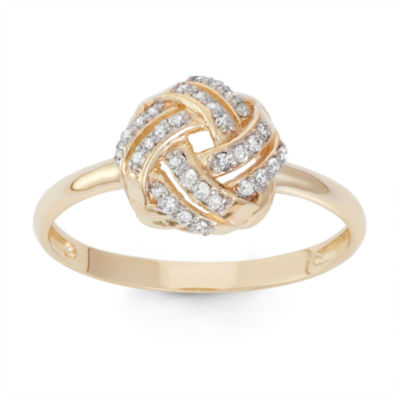 Womens 1/6 CT. T.W. Genuine White Diamond 10K Gold Cocktail Ring
