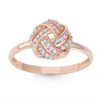 Womens 1/6 CT. T.W. Genuine White Diamond 10K Gold Cocktail Ring