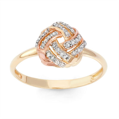 Womens 1/6 CT. T.W. White Diamond 10K Gold Cocktail Ring