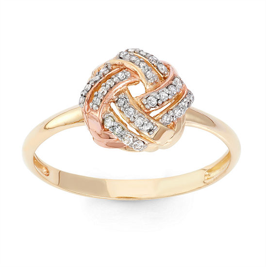 Womens 1 6 Ct Tw Genuine White Diamond 10k Gold Cocktail Ring