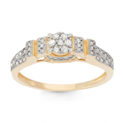 Womens 1/3 CT. T.W. White Diamond 10K Gold Cocktail Ring
