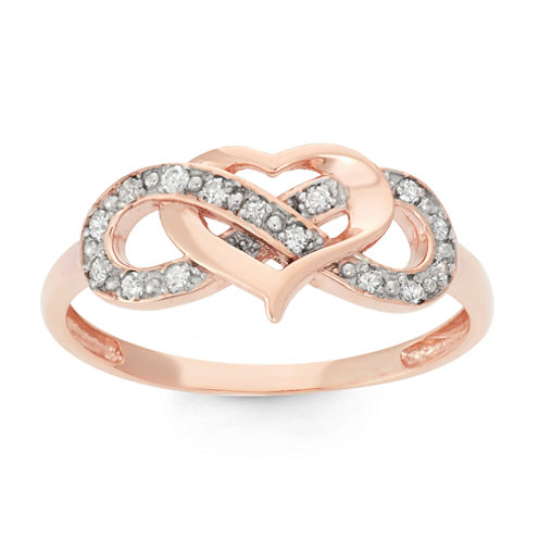 Womens 1/7 CT. T.W. Genuine White Diamond 10K Gold Cocktail Ring