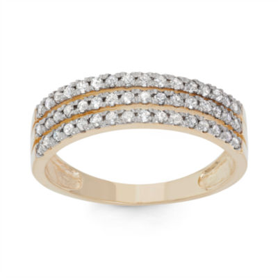 Womens 2.5 Mm 1/2 CT. T.W. Genuine White Diamond 10K Gold Band