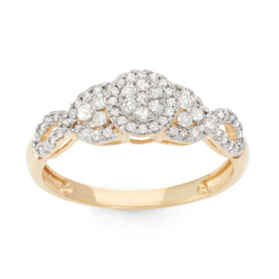 Womens 3/8 CT. T.W. Genuine White Diamond 10K Gold Cocktail Ring