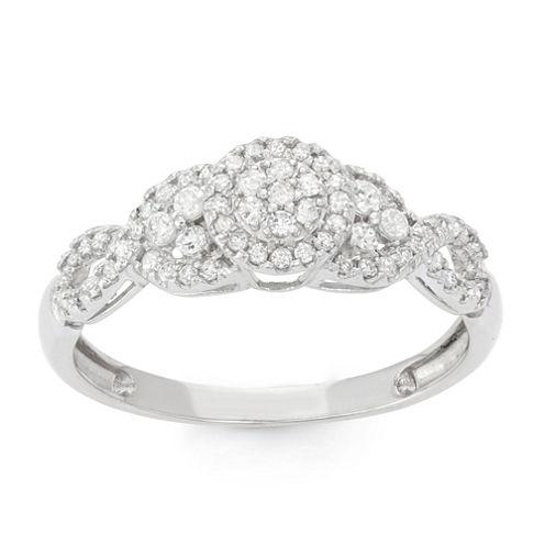 Womens 3/8 CT. T.W. Genuine White Diamond 10K Gold Cocktail Ring