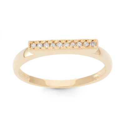 Womens 2.5 MM 1/10 CT. T.W. Genuine White Diamond 10K Gold Band