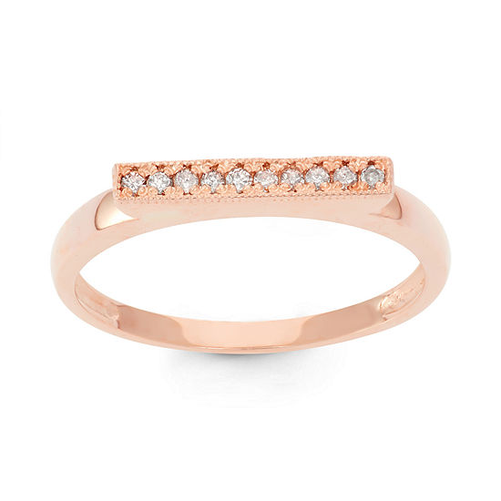 Womens 25 Mm 1 10 Ct Tw Genuine White Diamond 10k Gold Band