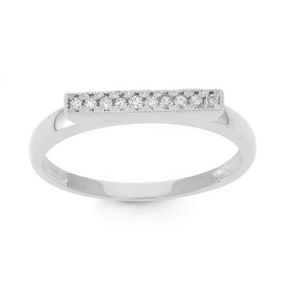 Womens 2.5 Mm 1/10 CT. T.W. Genuine White Diamond 10K Gold Band
