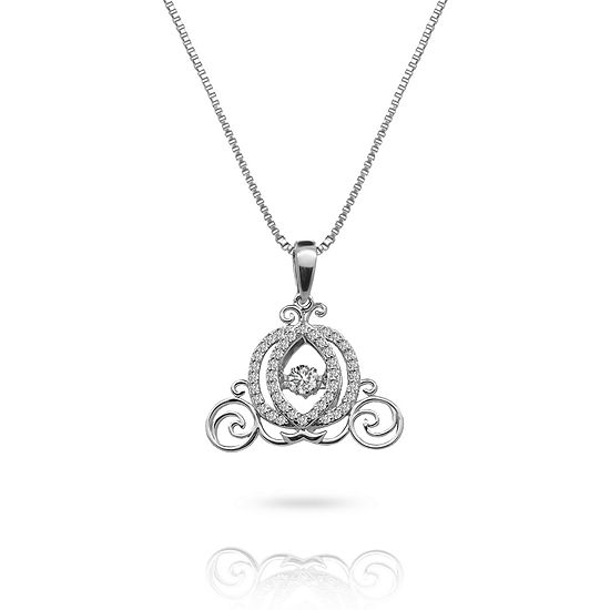 "Enchanted Disney Fine Jewelry 3/8 C.T. T.W. Genuine Diamond 10K White Gold ""Cinderella"" Carriage Necklace"