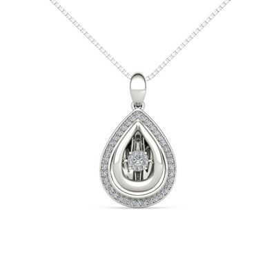 Love in Motion Womens 1/5 CT. T.W. Genuine White Diamond Sterling Silver Pendant Necklace