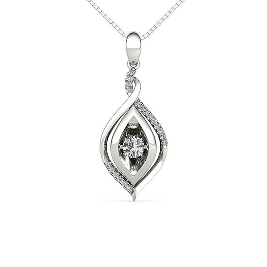 Love in Motion Womens 1/4 CT. T.W. Genuine White Diamond Sterling Silver Pendant