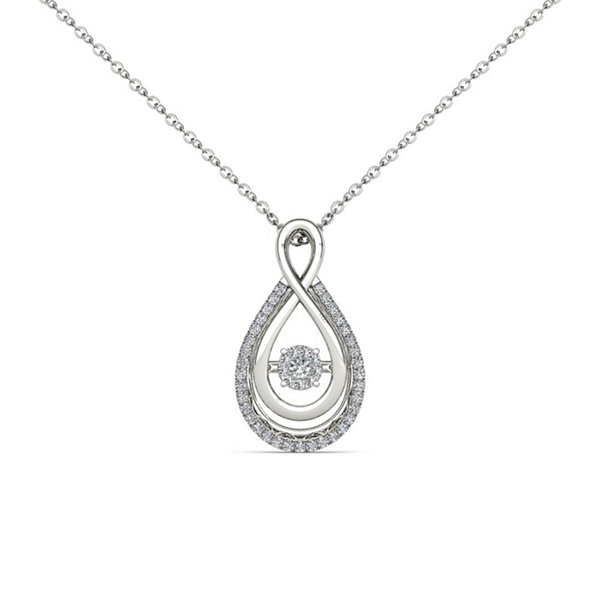 Love in Motion 1/8 CT. T.W. White Diamond Round 10K Gold Pendant