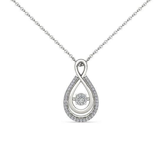 Love in Motion Womens 1/8 CT. T.W. Genuine White Diamond 10K Gold Pendant