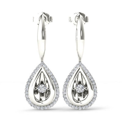 Love in Motion 1/3 CT. T.W. Genuine White Diamond Sterling Silver Drop Earrings