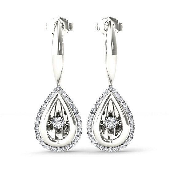 Love in Motion 1/3 CT. T.W. Genuine White Diamond Sterling Silver Drop Earrings
