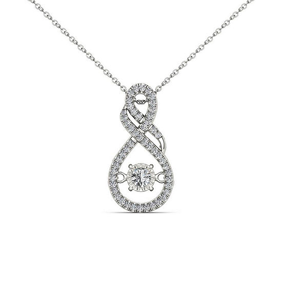 Love in Motion Womens 1/2 CT. T.W. Genuine White Diamond 10K Gold Pendant
