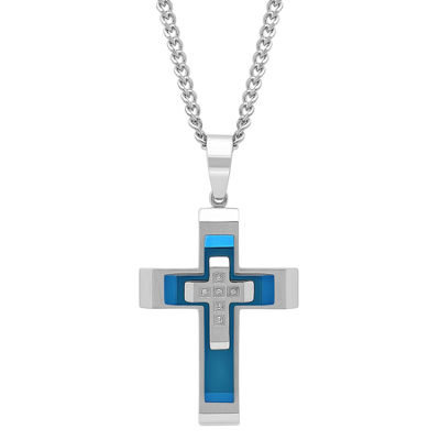 Mens 1/7 CT. T.W. Genuine White Diamond Stainless Steel Cross Pendant Necklace