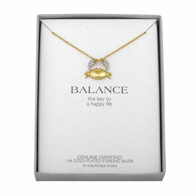 Womens Diamond Accent Genuine White Diamond 14K Gold Over Silver Animal Pendant Necklace