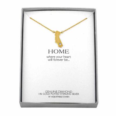 Diamond Accent 14K Yellow Gold over Silver California Pendant Necklace