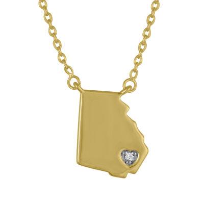 """Home"" Womens Diamond Accent Genuine White Diamond Pendant Necklace"