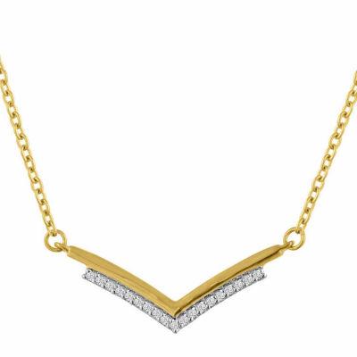 """Just Breathe"" Womens Diamond Accent Genuine White Diamond 14K Gold Over Silver Pendant Necklace"