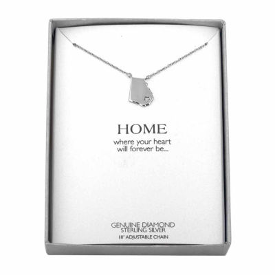 Diamond Accent Sterling Silver Georgia Pendant Necklace