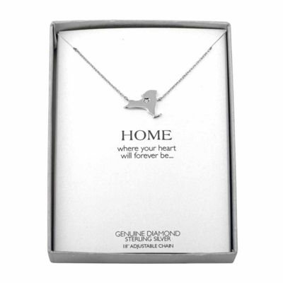 Diamond Accent Sterling Silver New York Pendant Necklace