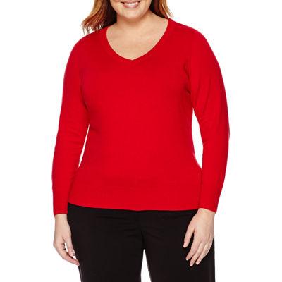 Worthington® Long Sleeve V-Neck Pullover Sweater - Plus