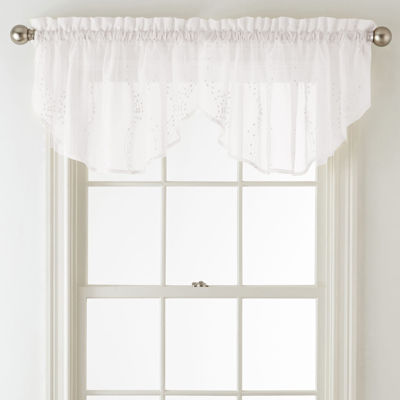 Home Expressions Lisette Ogee Embroidery Sheer Rod-Pocket Ascot Valance
