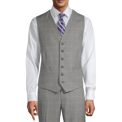 Stafford Mens Windowpane Regular Fit Suit Vest - Big and Tall