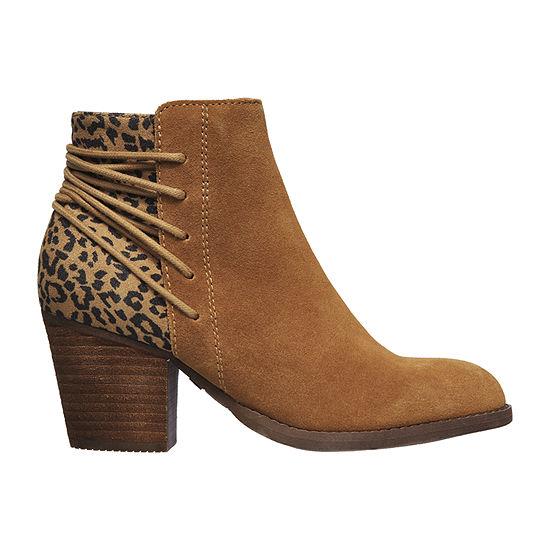Skechers Womens Animal Print Stacked Heel Wrapped Booties