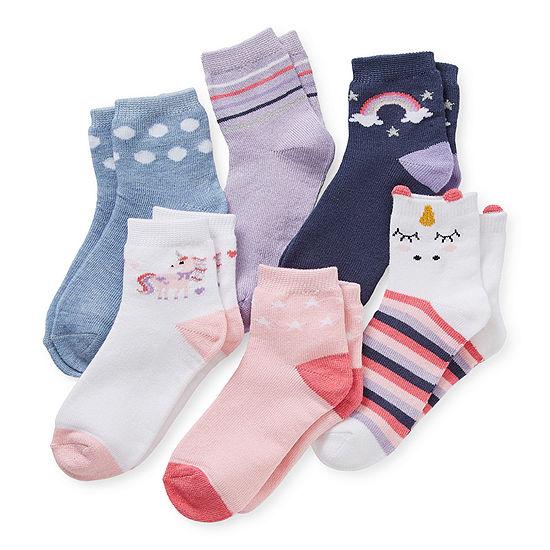 Okie Dokie Toddler Girls 6 Pair Quarter Socks