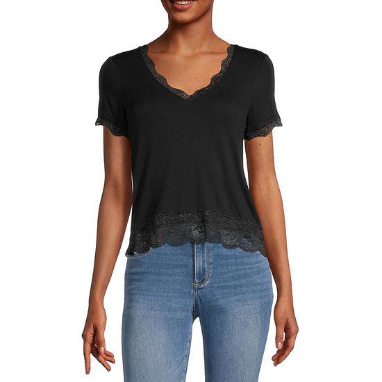 Self Esteem Juniors-Womens V Neck Short Sleeve T-Shirt