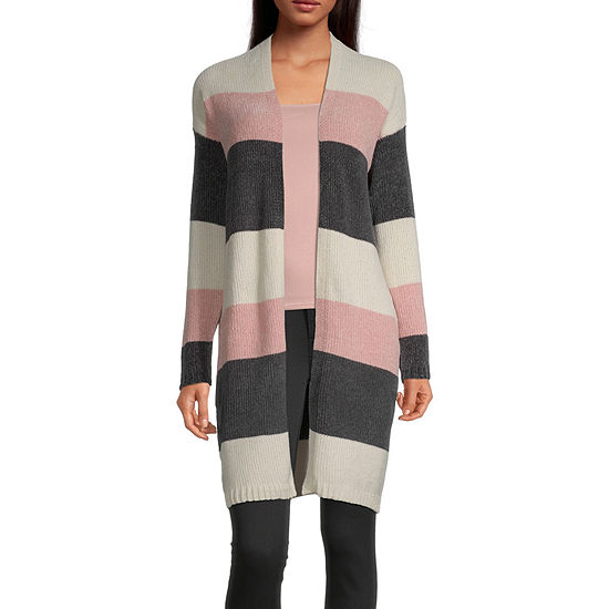 Rewind-Juniors Womens Long Sleeve Open Front Striped Cardigan