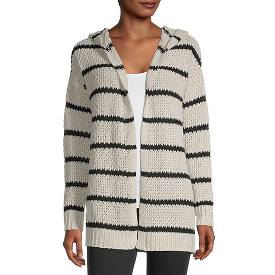 Rewind-Juniors Womens Hooded Neck Long Sleeve Open Front Striped Cardigan
