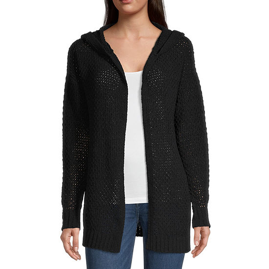 Rewind-Juniors Womens Hooded Neck Long Sleeve Open Front Cardigan
