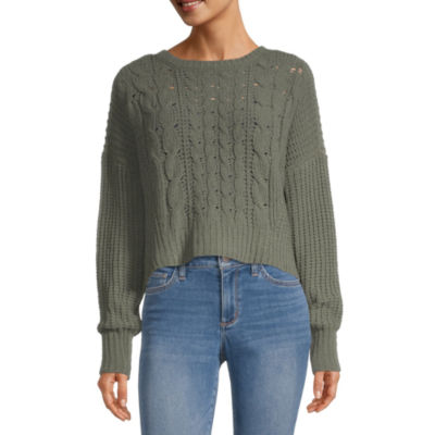 Arizona Juniors Womens Round Neck Long Sleeve Sweater