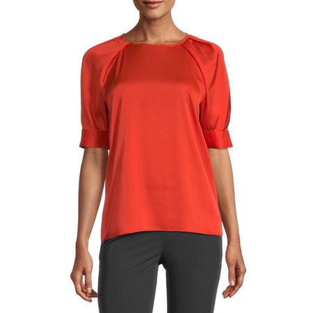 Worthington Womens Round Neck Short Sleeve Satin Blouse, Small , Orange