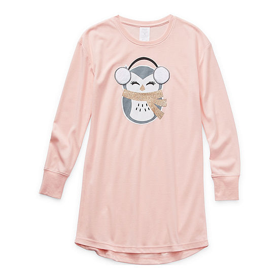 Peace Love And Dreams Little Girls Fleece Long Sleeve Round Neck Nightshirt