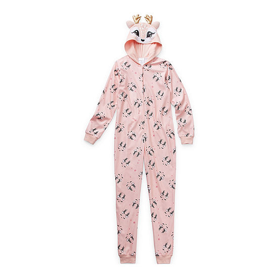 Peace Love And Dreams Little & Big Girls Fleece Long Sleeve One Piece Pajama