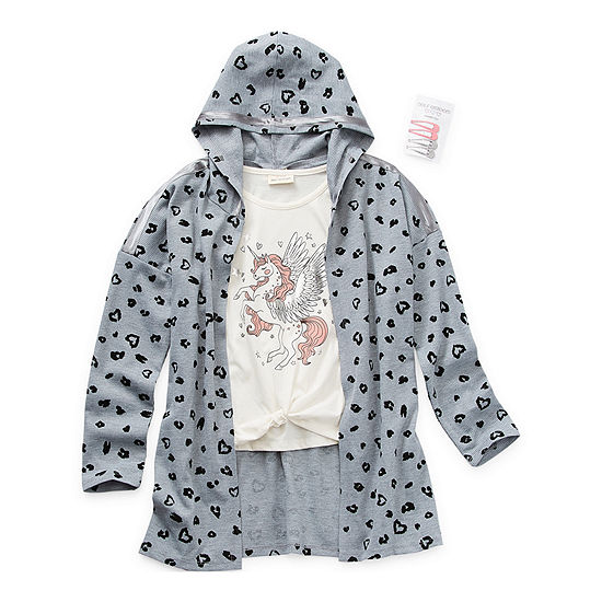 Self Esteem Little & Big Girls Hooded Shirt Set
