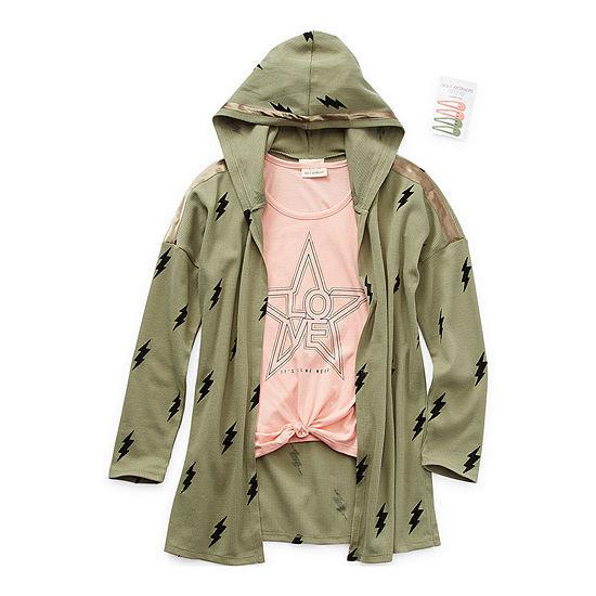 Self Esteem Little & Big Girls Hooded Shirt Set