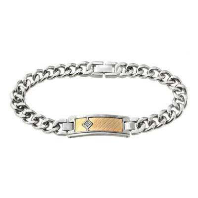 Men's Diamond-Accent Two-Tone ID Bracelet