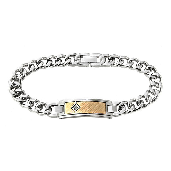 Men's Diamond-Accent Two-Tone ID Bracelet